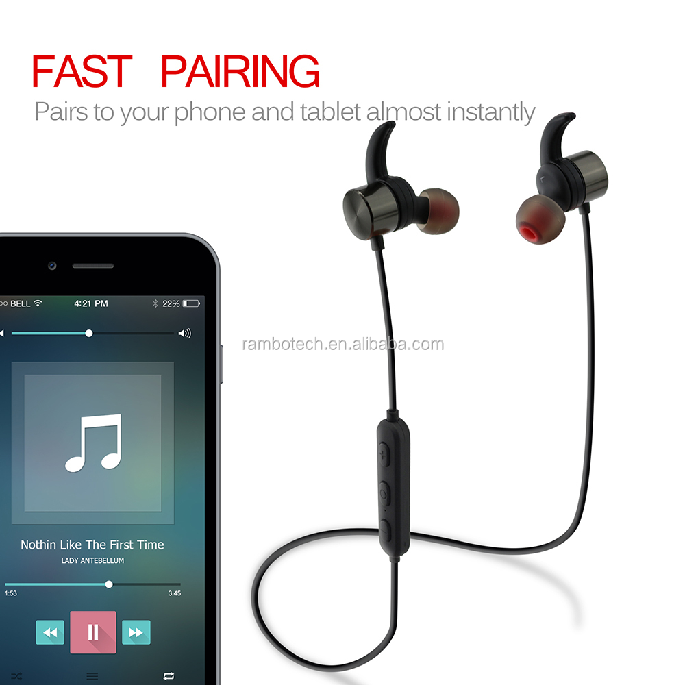 R1615 Wireless Headset Bluetooth Metal Earplug With Cable Control And Microphone For Handsfree Call.