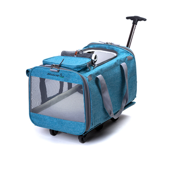 portable large rolling trolley pet travel dog carrier with detachable calm wheels SBS zipper