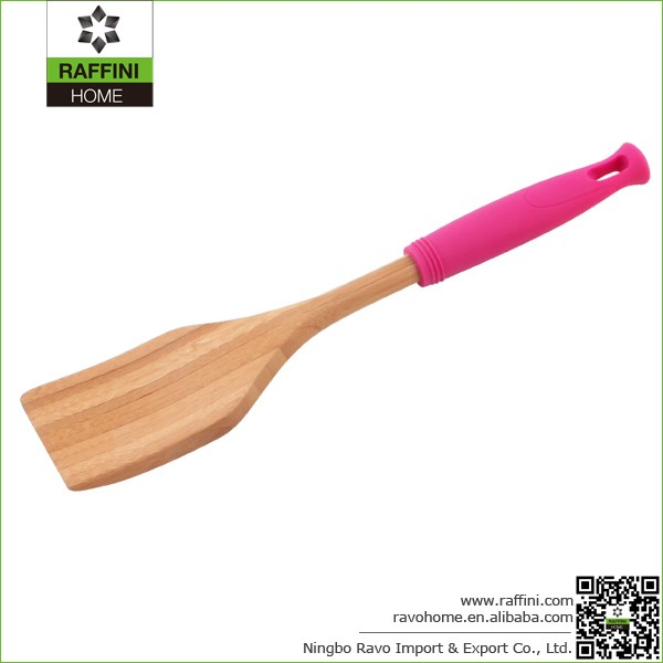FSC Durable Bamboo Utensil Turners with Colored Silicone Handle