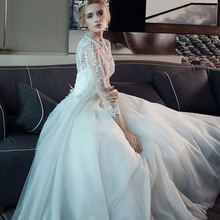 Latest design floor-length long sleeves white wedding dress with factory price