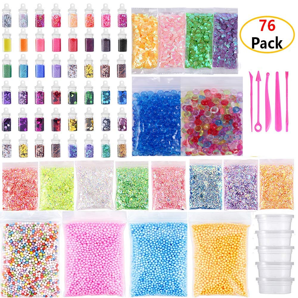 Diy Craft Supplies 1set Kids Diy Colored Foam Ball Bead Granules Gold Powder Sugar Paper Soft Clay Sequin Set Slime Slices Accessories