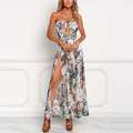Multi Floral Plunge High Slit Mesh Maxi Dress