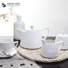 Household/ Restaurant/ Hotel/ Cafe/ Wedding White Ceramic Classic Coffee and Tea Set