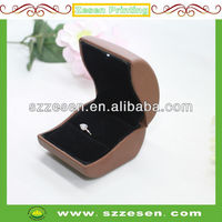 Luxury Brown and Black Leather LED light jewelry box and ring box