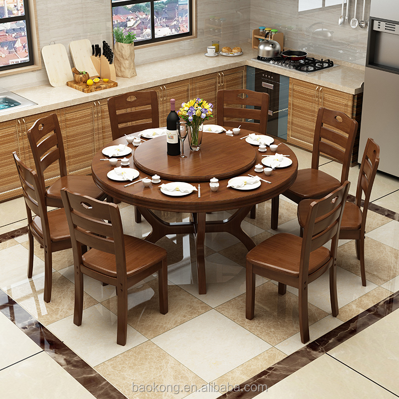 Dining Room Furniture Solid Wood Rotating Table Designs Rubber Round Wooden Product On