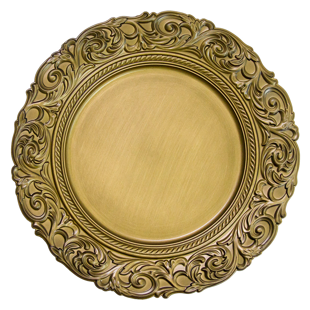 PZ01590 gold plastic charger sets dinner plates for wedding