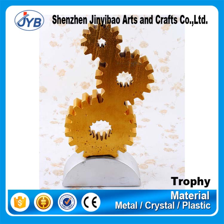 Creative 3D Gear Shape Machine Trophy Figurines with Custom Design