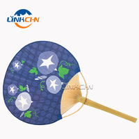 wholesale fancy bamboo craft paper round hand fans