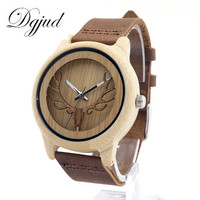 new fashon luxury brand wood watch leather band deer head case bamboo watches wholesale ZM-12