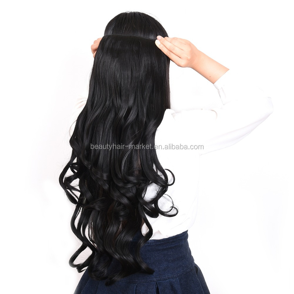 Best Quality Soft Hair Synthetic Hair Extensions Clip On Black Hair