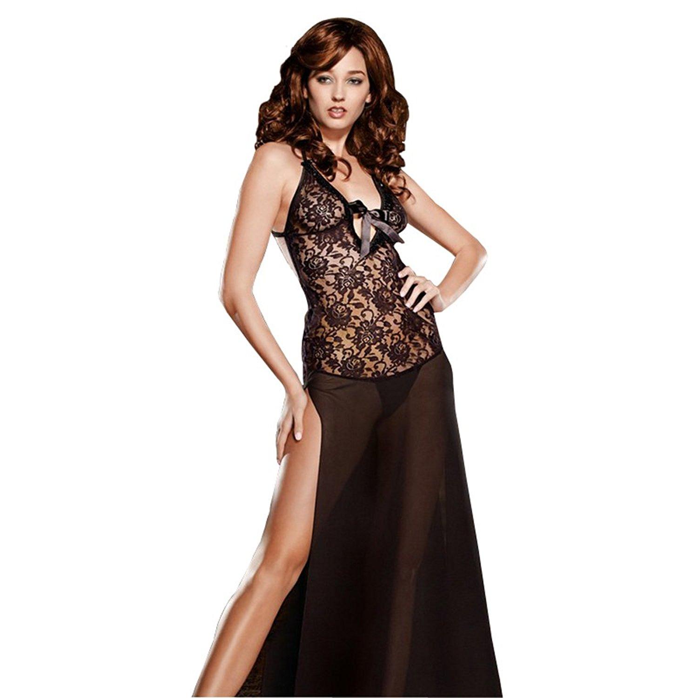Get Quotations · Famixyal Sexy Lingerie Plus Size Women Black Lace Lingerie  Hot Underwear Sheer Nightie Sleepwear Split Long 2302c5f30