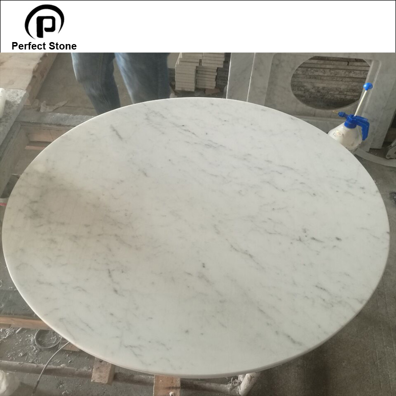 Custom cut round carrara white marble table tops