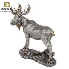 Wholesale outdoor silver resin moose bronze statue life size moose sculpture