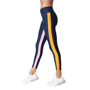 Top Selling Lady Fitness Sports Apparel High Waisted Yoga Pants Stretchy Compression Women Color Stripe Leggings Gym