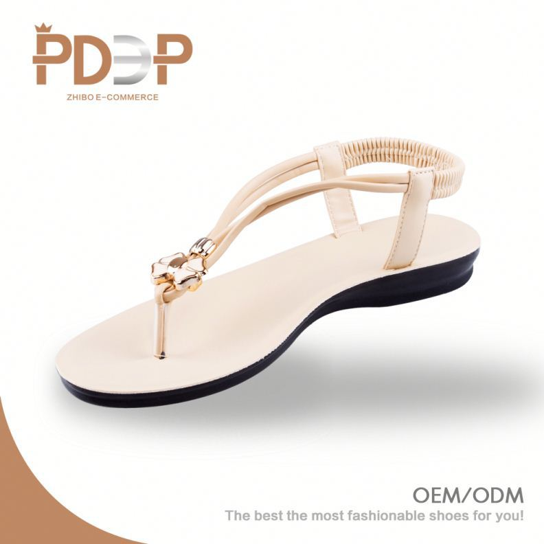 Chinese competitive price beautiful design sandals ladies flat