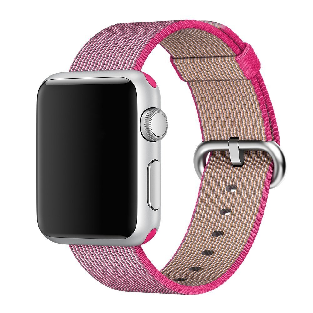 Watch Band, 42mm Apple iWatch Woven Nylon Fabric Replacement Strap Watch Bracelet Watchband Wrist Band for Apple iWatch (Pink)