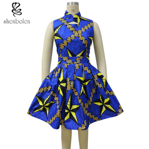 YZ204 hot selling summer new fashion African batik fabric casual dress for ladies wholesale price