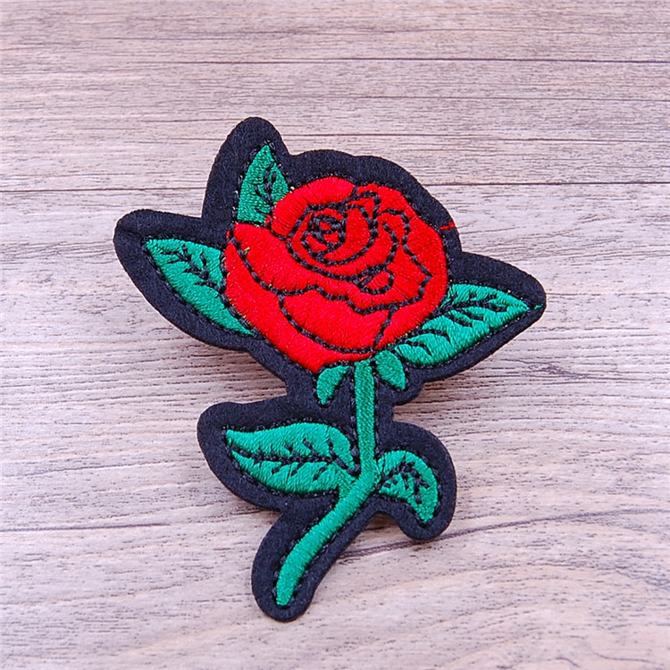 New design 3d rose flower patches embroidered