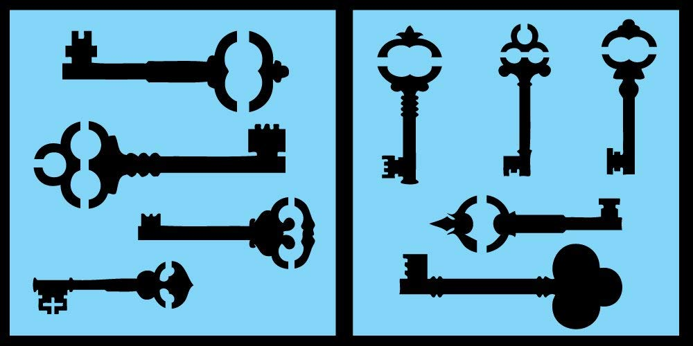 Auto Vynamics - STENCIL-KEYSET01-10 - Detailed Vintage / Skeleton Key Stencil Set - Features Multiple Unique Key Designs! - 10-by-10-inch Sheets - (2) Piece Kit - Pair of Sheets