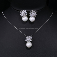 2016 Fashion Elegance Mother of the Bride White Gold Plated AAA Zircon Pearl Jewelry Set for Sex Mother Gift