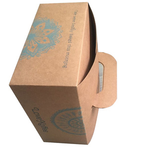 Natural brown 300gsm cardboard paper packing box with handle for food on sale