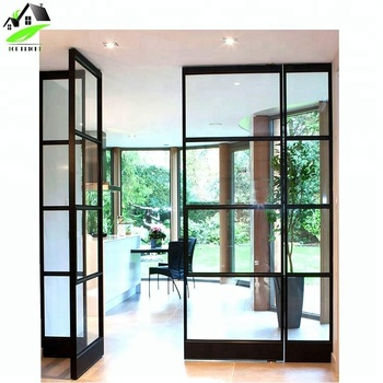 Commercial Aluminum Alloy Narrow Frame Cat Tempered Gl Double Entrance Front Swing Door With Black Grid Design French