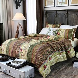 Brandream Shabby Vintage Bedding Set Luxury Patchwork Quilt Set Queen Size