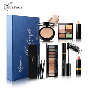 Niceface Brand Makeup Sets Waterproof Face Pressed Concealer Powder Palette Blush Highlighter Stick Cosmetics Tools Kits