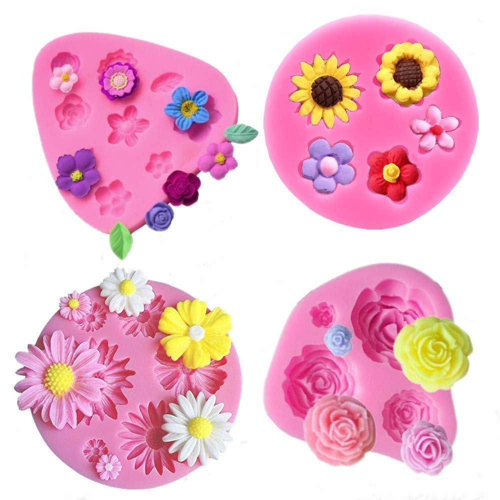 Flower Fondant Cake Molds-4 Pcs-Daisy Flower,Rose Flower,Sunflower and Small Flower,Candy Silicone Molds Set for Chocolate,Fondant,Polymer Clay,Soap,Crafting Projects & Cake Decoration (1)