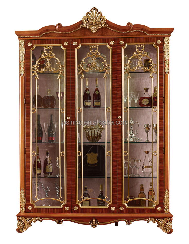 Hand Carving Wooden Display Cabinet,Luxury Decorative 4 Door Wine Cabinet,Antique  Gold Painting Storage Cabinet For Living Room   Buy Carved Wood Decorative  ...