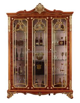 Hand Carving Wooden Display Cabinet,Luxury Decorative 4 Door Wine Cabinet,  Antique Gold