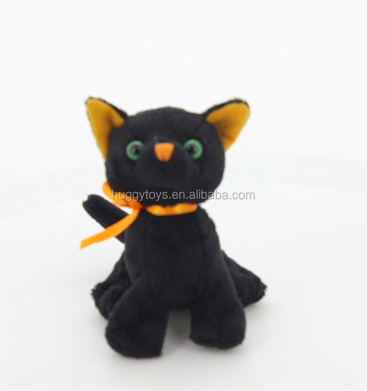 OEM Design Manufacturer Low Price custom Halloween black singing lifelike cat Plush toy