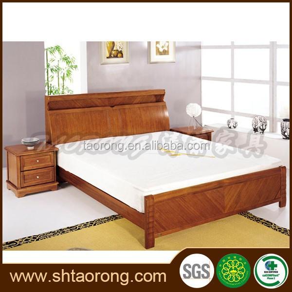 Camas en madera modernas cama estndar doble moderna de for Cama queen size con cajones