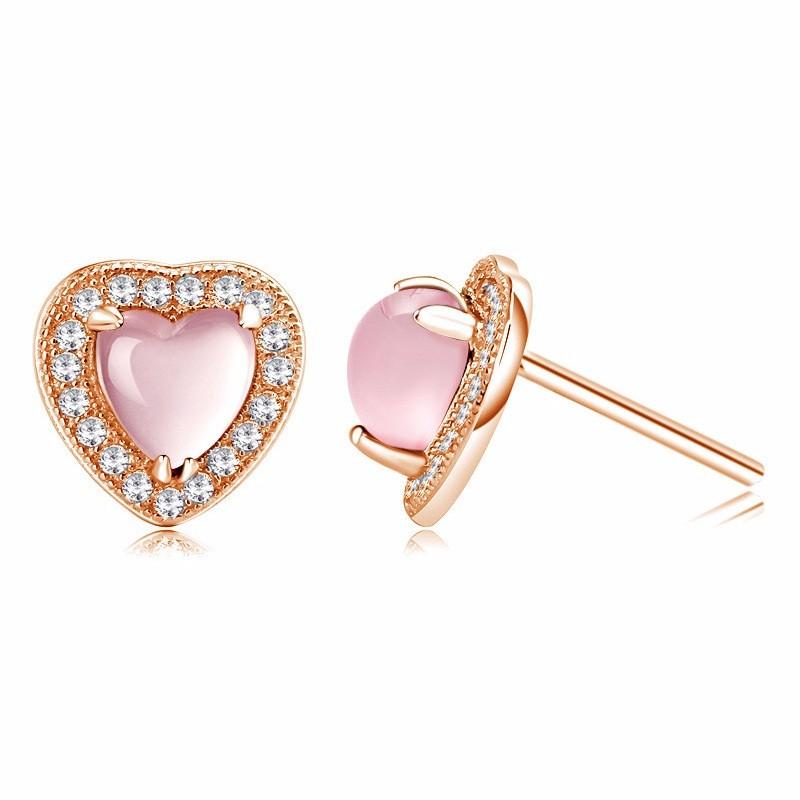 Tryme Jewelry 925 Sterling Silver Heart Shape Rose Quartz Earring Stud