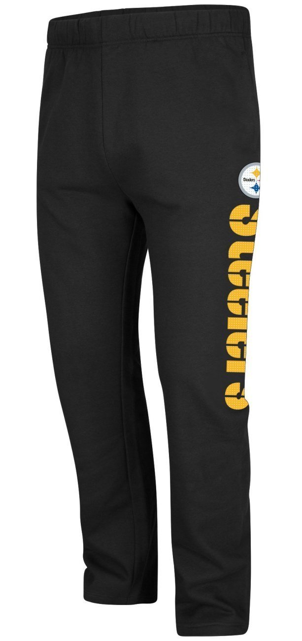 Get Quotations · Pittsburgh Steelers Black Just Getting Started Open Bottom  Sweatpants 3e08df25b