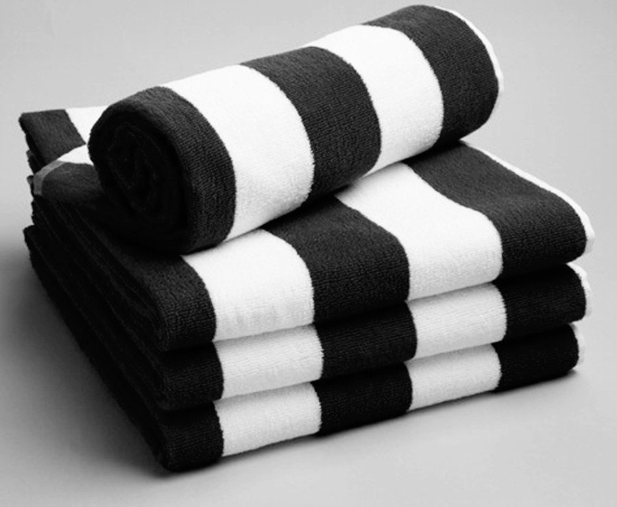 ... All Age White Black Bath Towel