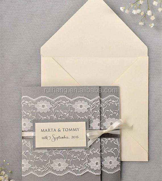 Ivory Lace Wedding Invitation Grey Wedding Cards Pocket Fold
