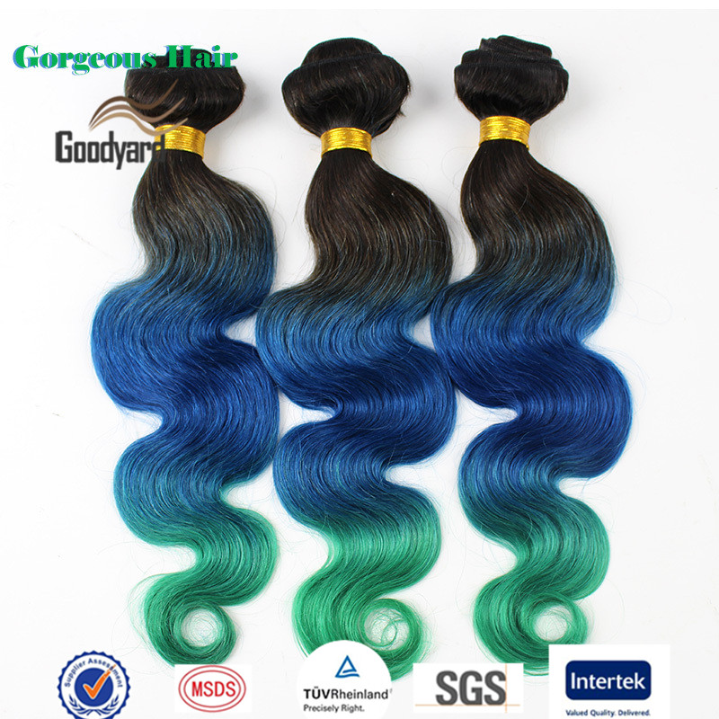 Qingdao Hair Factory Supply Three Tone Ombre Colored Brazilian Hair Weave