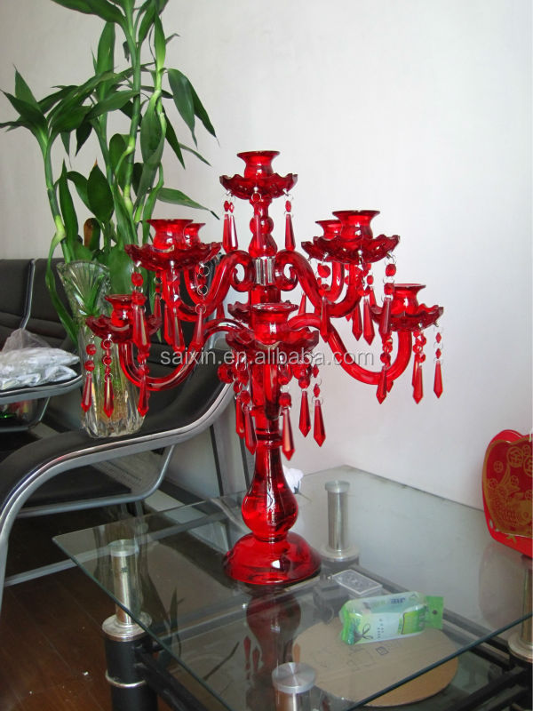 New ! Red 9 arms candelabra for home decoration