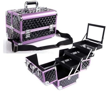2015 New Aluminum Cosmetic Train Case,Beauty carrying case,professional makeup box