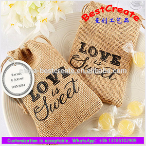Promotional little drawstring jute burlap retro gift bags with company logo
