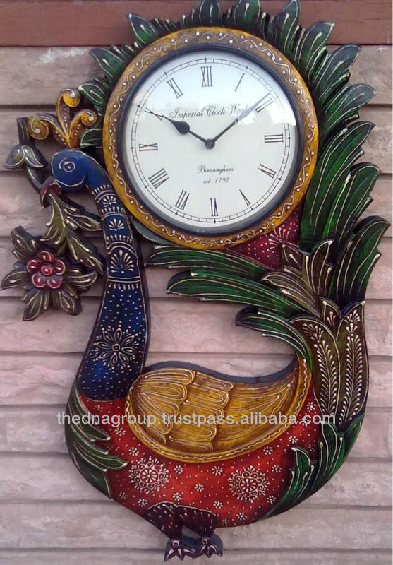 Wooden carved wall clock for promotion