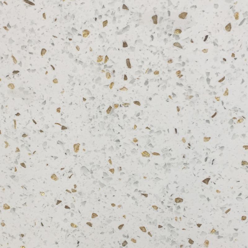 Gold White Engineered Stone Floor Tile Sparkle Quartz