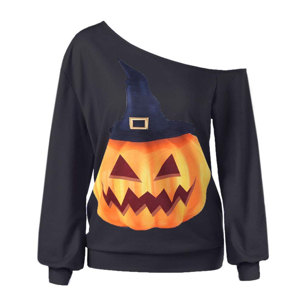 Womens Tops Clearance Sweatshirt Women's Halloween Print Long Sleeve Sweatshirt Pullover Tops Blouse Shirt