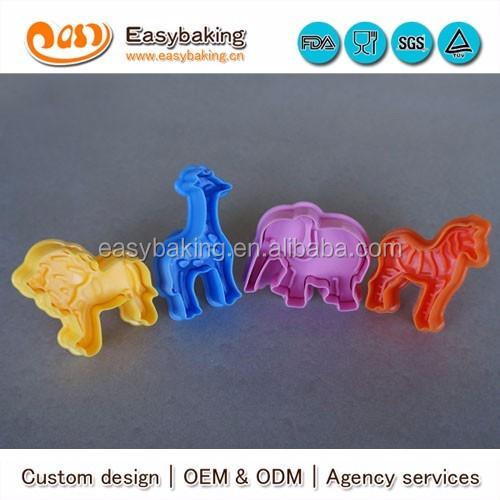 cp-205 strong food grade lion elephant zebra giraffe animal 4 pcs cookie cutter set