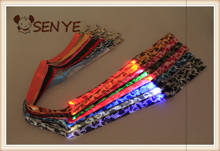 120CM long pull with new camouflage pet LED light emitting pull rope leash pet supplies 8 colors collar dog