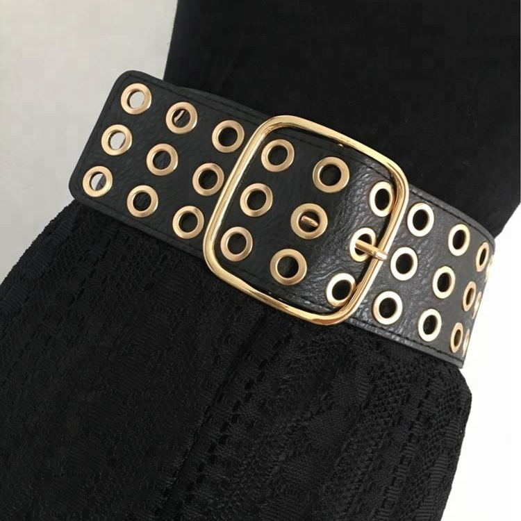 New Fashion women's Rivet belts Punk rock style belt For lady PU + Genuine leather Sequins Metal buckle Wide Metal rivet bead