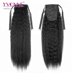 Kinky Straight Brazilian Human Hair Drawstring Ponytail Extensions For Black Women