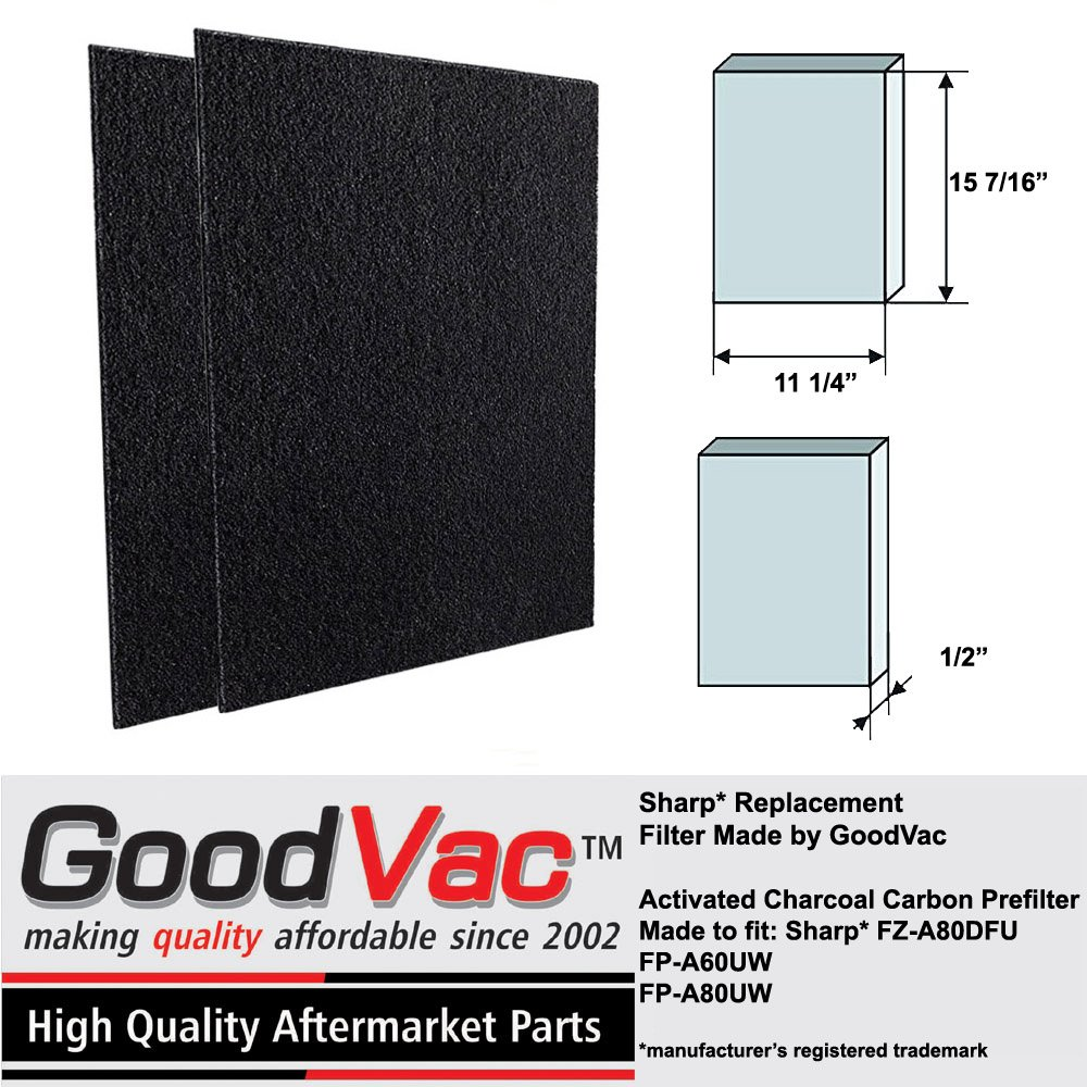 GoodVac Sharp Non-OEM Activated Carbon Replacement Filter FZ-A80DFU fits FP-A60UW FP-A80UW