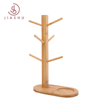 High quality bamboo wooden 6 Hooks Glass kitchen cup drying rack